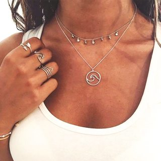 Womens Creative Beach Wave Circle Chain Pendant Silver Double Layer Long Necklace Women Fashion