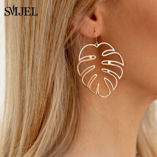 SMJEL Bohemian Hollow Monstera Leaf Dangle Drop pendientes Women Statement Tropical Plant Jewelry