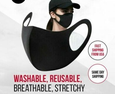 Face Mask, Black Fashion Washable, Reusable, Breathable, Unisex Mask