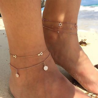 2 Style Bohemian Key Star Round Tassel Crystal Chain Pendant Multilayer Anklet Womens Beach Party