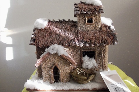 "9.25"" Rustic Two Story Snowy Cabin Christmas Decoration"