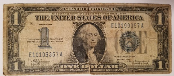 Funny Back 1934 USA $1 Silver Certificate