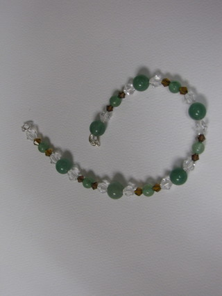 BEAUTIFUL Jade and Crystal Anklet