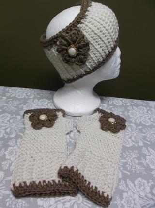 Cute Handmade TAN/BROWN Crocheted / Knitted Ear Warmers / Headband And Fingerless Gloves