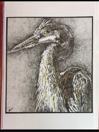 "GREAT BLUE HERON - 5 x 7"" art card by artist Nina Struthers - GIN ONLY"