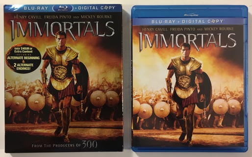 Immortals Blu-ray Movie 2012 Includes Digital Copy Disc + Code Sheet - w/ Slipcover - Mint Discs