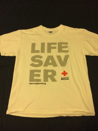 White Life Saver American Red Cross Blood Donation T-Shirt