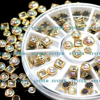 Nail Art Tips Decoration Square Round Multicolor Glitter Rhinestones #SW-009