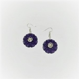 Purple Vintage Flower Button Drop Earrings Silver Plate