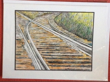 """RAILROAD TRACKS - 5 x 7"""" art card by artist Nina Struthers - GIN ONLY"""