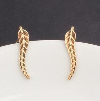 NEW Exquisite Gold Leaf Earrings Modern Beautiful Feather Clip Earrings Deluxe Fashion Plated FREE
