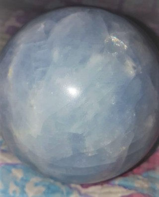 Natural Blue Celestite Sphere Known As the Angel Crystal