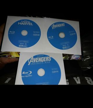 3 MARVEL MOVIES BLU-RAYS DISC ONLY ENDGAME, INFINITY WARS AND CAPTAIN MARVEL