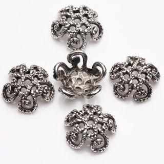 50Pcs Tibet Silver Tiny Flower Shape Bead Caps Jewelry Findings DIY 14*4mm
