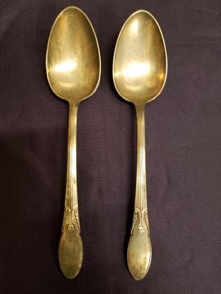 Vintage Alvin Fashion Lane 1940 Silver Plate Silverware Set of 2 Serving Spoons Spoon