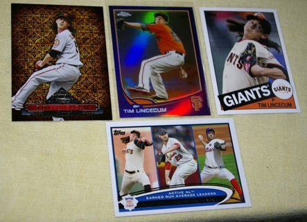 Tim Lincecum lot of 4 cards w/ refractor & insert