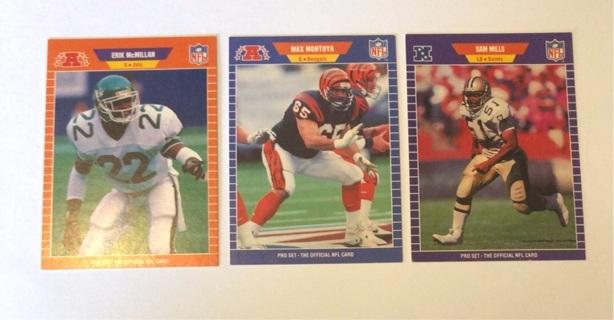 3x 1989 NFL ProSet Football Cards