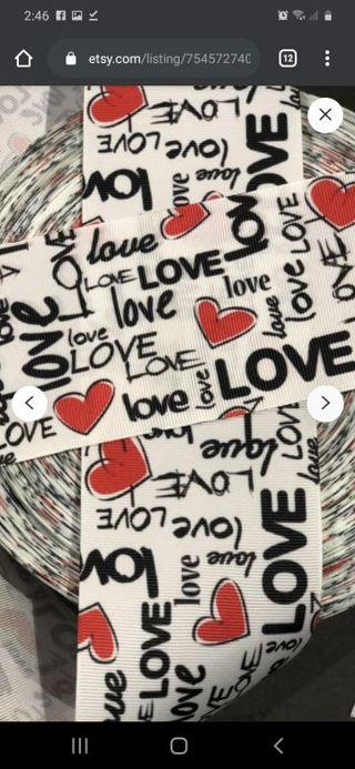 "Graffiti love words 7/8"" grosgrain ribbon 1 yard NEW"