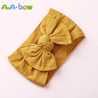 1PCS New Braid Nylon Bow Headbands,Cable Knit Solid Wide Nylon Headbands Turban, Baby Girls Head W