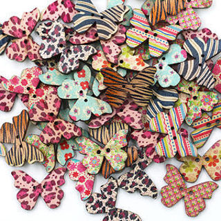 LAST ONES! Zebra Print Butterfly Buttons