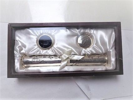 Silver Tiny Treasures Boxed Baby Keepsake Gift Birth Certificate, Holder First Tooth & Curl
