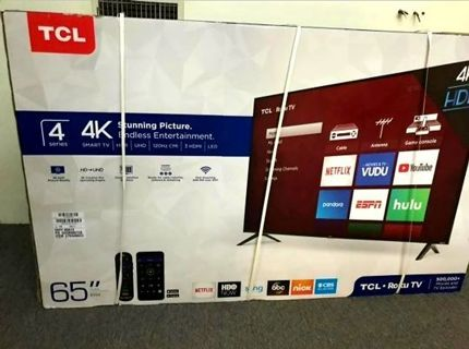 """TCL - 65"""" IN 4K UHD/Roku Flat Screen Smart TV, Brand New Seal, 3 Day's Auctions, Read Below!"""