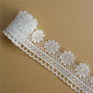 1 Yard Flower Embroidered Lace Edge Trim Ribbon Wedding Applique DIY Sewing Craft
