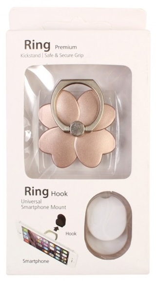 Car Phone Ring Kickstand Safe and Secure Grip Stand Holder - Rose Flower