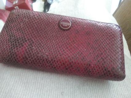 Coach embossed snake zip around accordian wallet