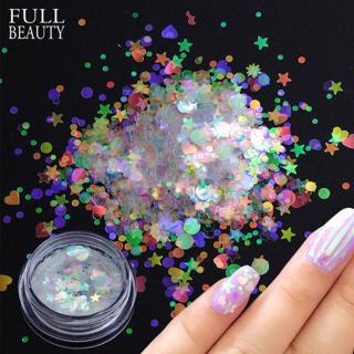 1 box Holographic Nail Sequins & Nail Flake AB Transparent Glitter for DIY Beautiful Slider Nail A