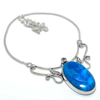 PRETTY SHATTUCKITE GEMSTONE SILVER PLATED NECKLACE 18""