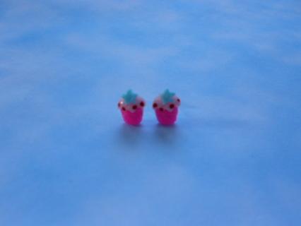 Tiny Handmade Hot Pink Resin Cupcake Post Earrings