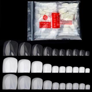 500 Pcs/pack Fake Artificial Acrylic False Toe Nails Tips Natural White Transparent Toenails Foot