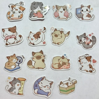 ☆※☆※☆CLEARANCE!!! ♥♥ADORABLE KAWAII HAPPY CALICO KITTENS STICKER FLAKES 15PC♥♥