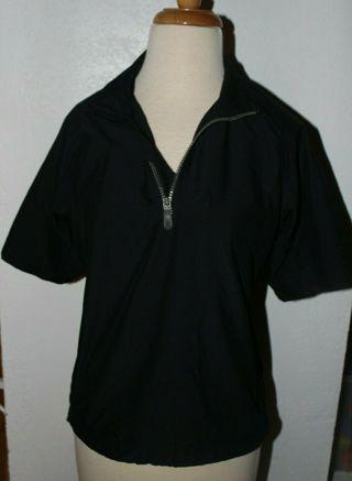 Adidas Size Medium ClimaShell Wind 100% Polyester Black Short Sleeve Athletic Top