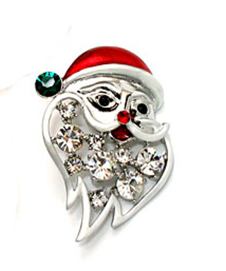 HAND ENAMELED SANTA PIN with CZ STONES BOXED NEW