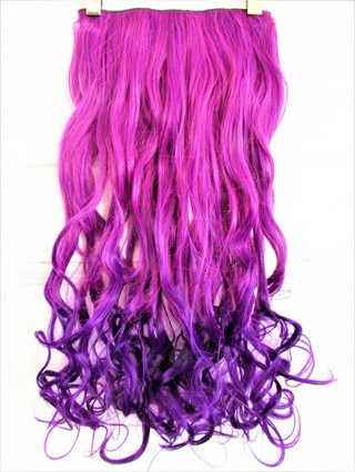 "NEW!!!  24"" WAVY PURPLE / BLUE OMBRE HAIR EXTENSION- THICK- 5 CLIPS- FULL HEAD!"