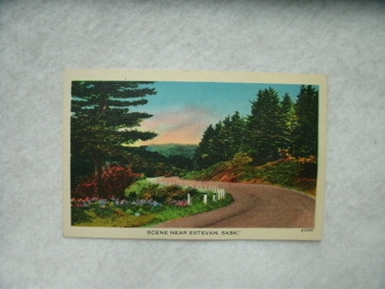 Vintage Painted Scene Near Estevan Sask Post Card 1 cent Domestic 2 cent Foreign Stamp