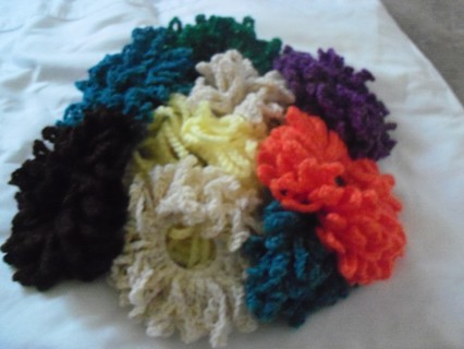 (1st)ONE DOZEN CROCHETED SOLID COLORED HAIR SCRUNCHIES (MYSTERY PACKAGE)