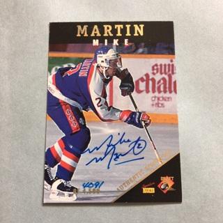 Mike Martin Autographed Hockey Rookie Card