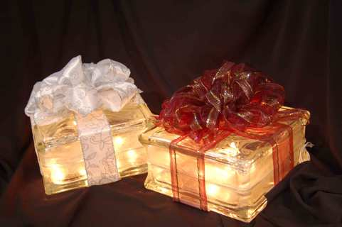 Free Christmas Holiday Glass Block Light Up Present Other