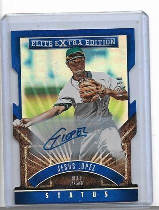 2015 Elite Extra Edition Prospect Autographs Status Blue Die Cut #150 Jesus Lopez 08/50