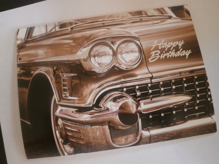 FREE Happy Birthday Classic Car Themed Card Envelope