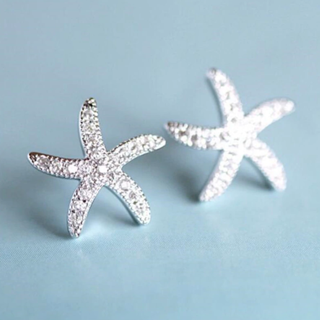 [GIN FOR FREE SHIPPING] 925 Sterling Silver Crystal Starfish Personality Exquisite Earrings