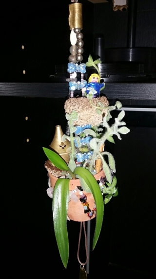 "HANDMADE 2"" HANGING FAIRY GARDEN Made With Crystals, Gems & Living Plants! ***One of a Kind***"