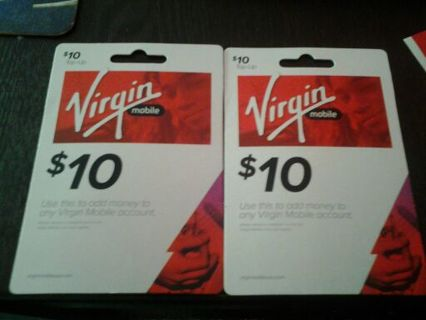 Free: 2 $10 virgin mobile top up card - Other Cell Phone Items