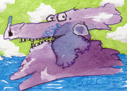 """Day at the Beach, """"Splotch Monster"""", ATC ACEO Original artwork by Rhonda Chase"""