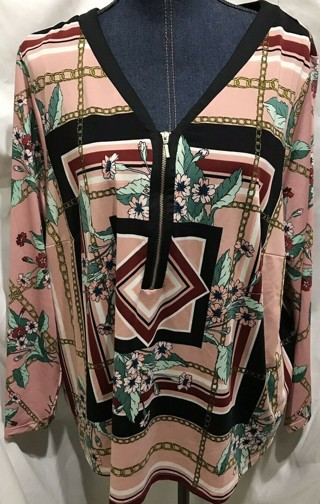 Beautiful Ladies Sz 2X PINK Floral Nanette Lepore Poly Spandex Zip Long Sleeve Top-Like New