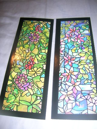 2 Tiffany look book marks with passion flowers and floral skylight