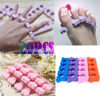 20x Sponge Finger Toe Separator Divider Spacer Nail Art Salon Pedicure Manicure